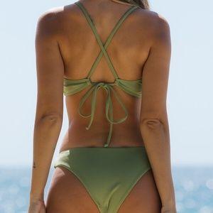 Boho lace up Tie Cheeky Bikini Swim Green Summer